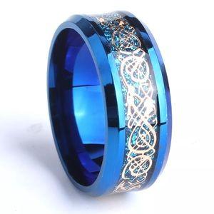 Jewelry - Blue Titanium Gold Dragon Ring